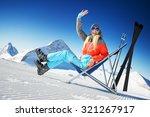 girl having fun in ski resort | Shutterstock . vector #321267917