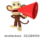 3d funny monkey with huge red... | Shutterstock . vector #321284543