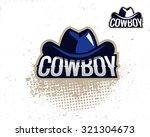 colorful cowboy hat emblem ...