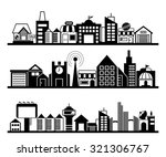 set of silhouette cityscapes ... | Shutterstock .eps vector #321306767