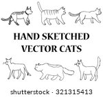 hand drawn set with walking cats | Shutterstock .eps vector #321315413