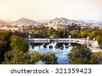 lake pichola with city palace... | Shutterstock . vector #321359423