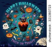 vintage halloween poster design ... | Shutterstock .eps vector #321383723
