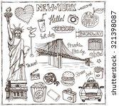 new york doodle set.american... | Shutterstock .eps vector #321398087
