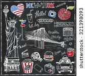 new york doodle set.american... | Shutterstock .eps vector #321398093