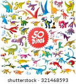 50 funny cartoon dinosaurs... | Shutterstock .eps vector #321468593