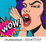 woman with wow sign.... | Shutterstock . vector #321477737