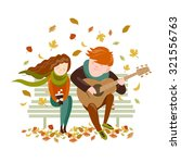boy plays guitar for a girl in... | Shutterstock .eps vector #321556763
