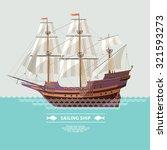 old sailing ship. flat design. | Shutterstock .eps vector #321593273