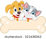 Stock vector cat and dog are holding sign add your own message 321638363