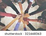 hands holding teamwork... | Shutterstock . vector #321668363