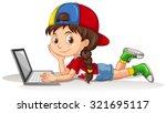 Canadian girl using laptop illustration