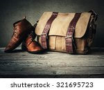 men's boots and brown bag on... | Shutterstock . vector #321695723