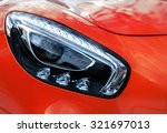 Closeup Headlights Of Modern...