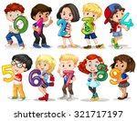 children holding number zero to ... | Shutterstock .eps vector #321717197