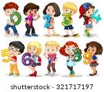 Children holding number zero to nine illustration | Shutterstock vector #321717197