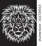 White Lion Head On Black...