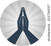 Icon Prayer In A Flat Style On...