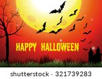halloween theme with fullmoon... | Shutterstock .eps vector #321739283