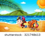 little girl having fun at the... | Shutterstock .eps vector #321748613