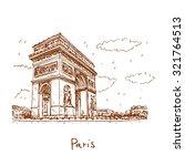 arc de triomphe  paris  france. ... | Shutterstock .eps vector #321764513