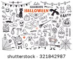 halloween drawings vector set ... | Shutterstock .eps vector #321842987
