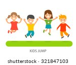 group of joyful kids jumping on ... | Shutterstock .eps vector #321847103