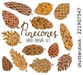 pine cones set | Shutterstock .eps vector #321907547