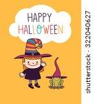 halloween cute little witch   Shutterstock .eps vector #322040627