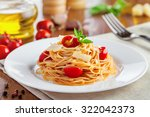 spaghetti with tomato sauce ... | Shutterstock . vector #322042373