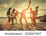 friends funny game on the beach ... | Shutterstock . vector #322047347