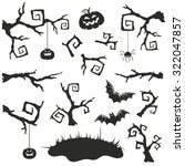 halloween objects set isolated... | Shutterstock .eps vector #322047857