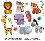 cute jungle animals isolated... | Shutterstock .eps vector #322078967
