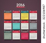 calendar 2016  week starts on... | Shutterstock .eps vector #322106987