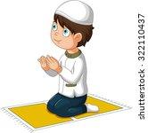 boy cartoon praying | Shutterstock .eps vector #322110437