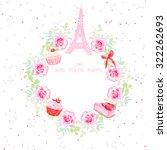 flowers  cupcakes  eiffel tower ... | Shutterstock .eps vector #322262693