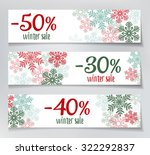 three winter sales banners with ... | Shutterstock .eps vector #322292837