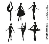 Set Of Silhouettes Ballerina...