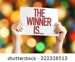 the winner is... placard with... | Shutterstock . vector #322328513