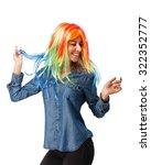 crazy young woman joking   Shutterstock . vector #322352777