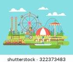 amusement park. riding on the... | Shutterstock .eps vector #322373483