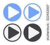 raster play icon set. black and ... | Shutterstock . vector #322432007