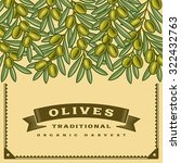 retro olive harvest card.... | Shutterstock .eps vector #322432763