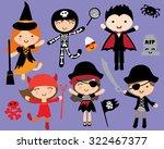 kawaii cute halloween costumed... | Shutterstock .eps vector #322467377