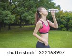asian sport girl  drinking water | Shutterstock . vector #322468907