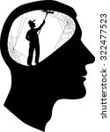clear your mind. male profile... | Shutterstock .eps vector #322477523