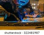welder and bright sparks.... | Shutterstock . vector #322481987