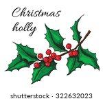 hand drawn holly. christmas...