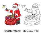 coloring book or page. santa... | Shutterstock .eps vector #322662743