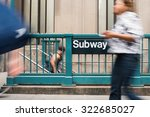 blurred people walking in front ... | Shutterstock . vector #322685027